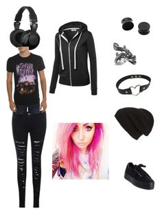 """""""Emo outfit 6"""" by bunny-winchester on Polyvore featuring Skullcandy, Phase 3, No Name and Monsieur"""