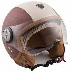 capacete tech3 fashion vintage couro sint. marrom  / branco