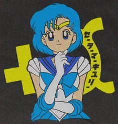"Black Sailor Moon Mercury Mizuno Ami ""THINK"" Shirt T-shirt tee Tshirt OTAK"