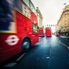 London Buses on Oxford Street.  London, U.K. by CubaGallery
