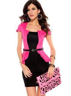 #CLUBDRESS Office Lady Style Pink U-neck Clubwear Dress//