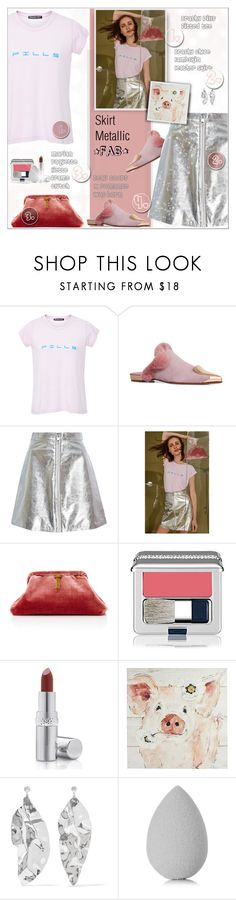 """SKIRT METALLIC!!"" by alves-nogueira ❤ liked on Polyvore featuring Brashy, Marian Paquette, La Prairie, Pier 1 Imports, Sophie Buhai and beautyblender"