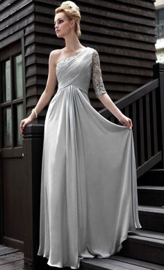 Silver One Shoulder Floor Length Dress For Wedding Guest [MSFD22-199]    love this dress