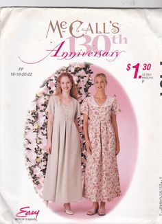 McCall's P464 Pattern Uncut Plus 16 18 20 22 Easy Loose Fitting Dress 130th Anniversary Modest