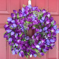 Tulip Wreath, Purple Tulip Door wreath, Spring Tulip Wreath, Easter Wreath, Mother's Day Gift Idea