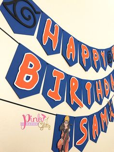 Celebrate in style with this beautiful Naruto Birthday Banner Each letter measures about 5x6in, banners are strung with extra ribbon at the ends to hang. - Letters are popped out to give a 3D effect - 2 Separate banners (Happy) (Birthday) unless noted otherwise - All Banners with names will be 3 separate pieces unless noted otherwise - All of our items are handcrafted in out pet free and smoke free home. WHEN PURCHASING PLEASE LEAVE THE FOLLOWING IN THE NOTES SECTION 1. Name (1 name ONLY... Hubby Birthday, Birthday Themes For Boys, 12th Birthday, Happy Birthday Banners, Nerd Party, Ball Birthday Parties, Birthday Party Decorations, Naruto Party Ideas, Bolo Naruto