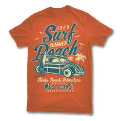 Surf Beach Tshirt Design Template based on vector files , such as AI and CDR also with PSD separated Layers file, the design has 2 color print, it can be used for digital printing and screen printing. Cool Tees, Cool T Shirts, Tee Shirts, Beach T Shirts, Summer Shirts, Shirt Template, Outdoor Apparel, Apparel Design, Mens Tees
