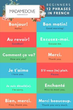 12 phrases in French for beginners// 12 phrases en français pour les débutants Common French Phrases, Useful French Phrases, Basic French Words, Italian Phrases, How To Speak French, French Travel Phrases, French Language Basics, French Basics, French Language Lessons