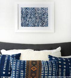 DIY Wall Art with Tribal Batik Patterns - Indigo Color Trend and Wall Stencils Diy Home Decor Projects, Furniture Projects, Diy Furniture, Furniture Stencil, Studio Furniture, Rustic Furniture, Decor Ideas, Furniture Logo, Furniture Makeover