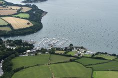 Mylor Yacht Harbour on the Fal Estuary in Cornwall - aerial image by John Fielding #mylor #yachts #cornwall #aerial