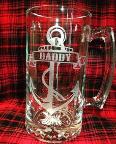 Daddy Beer Mug Etched  Anchor Nautical by RKCreativeImpression