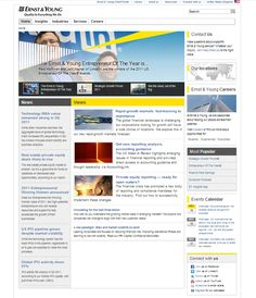 """2011 - www.ey.com evolves again.  We introduce our """"beam"""" to the graphics, a section for our growing social media networks makes it's first appearance and we now have an events calender on the front page."""