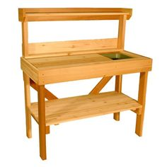Cedar Wood Potting Bench With Sink