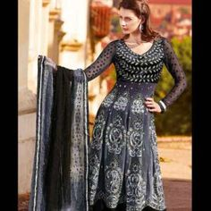 Grey & Black Shaded Anarkali Pattern Salwar Kameez | $115.00 | http://goodbells.com/salwar-suits/grey-black-shaded-anarkali-pattern-salwar-kameez.html