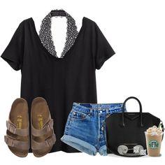 #summer #outfits / Black V Tee + Denim Shorts