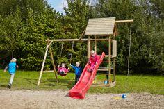 Spielturm Obelix mit Holzdach, Schaukel und roter Rutsche bei dein-spielplatz.de unter http://www.dein-spielplatz.de/de_de/spielgeraete/schaukel-kinderspielturm/spielturm-schaukel-obelix