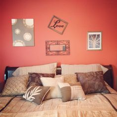 """Use the frames from Hobby Lobby and maybe double frame it... red black and grey for our bedroom! DIY Bedroom Art- love the framed word """"love"""" idea"""