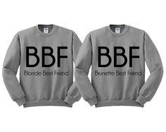 Grey Crewneck Blonde Best Friend Brunette Best Friend Sweatshirt Sweater Jumper Pullover by TeesAndTankYouShop on Etsy