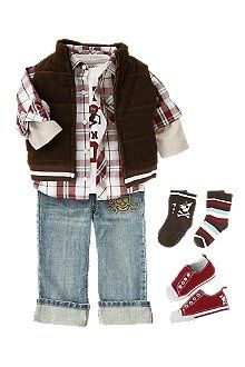 Pirate double sleeve tee, plaid shirt and jeans with skull  crossbones