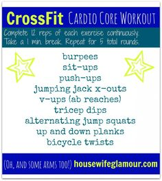 CrossFit (inspired) Cardio Core Workout. #FitFluential #livewithfire