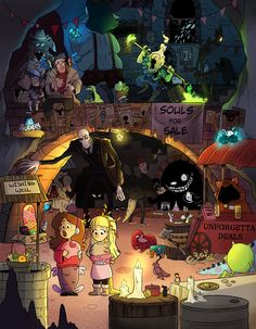 I wanted to try something very clustered so the hidden monster market seemed appropriate. Gravity Falls Comics, Gravity Falls Art, Teen Titans Series, Fall Tumblr, Fall Cats, Filipino Art, Fanart, Stay Weird, Cartoon Crossovers