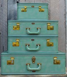 Vintage Olympic Luggage Colors of Spring 2013 Grayed Jade #spadelic #pantone