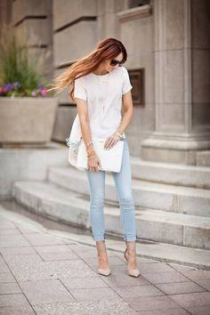 Pale pink & faded jeans- crisp yet casual. | www.LittleJStyle.com