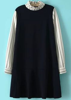 Black Stand Collar Striped Ruffle Dress - abaday.com