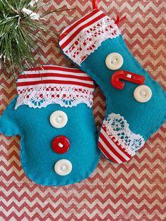 Felt Christmas Ornaments - Felt Ornaments - Felt Stocking -  Felt Mitten - Felt Xmas Ornaments- Christmas Ornaments - Felt Christmas Decor