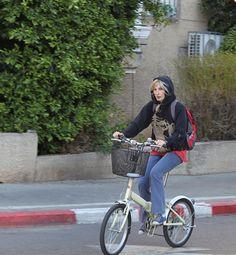 Cyclist in winter in Tel Aviv