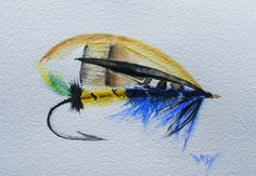 Megan Boyd's Beauty (watercolour 15 x 10 cm) The next episode in my research for the Fishing Flies Painting series involved a little discovery. In