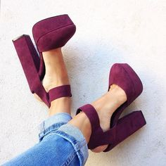 Burgundy Suede Block Heels Platform Pumps for Night club, Dancing club, Music festival, Big day, Hanging out Cute Shoes, Me Too Shoes, Awesome Shoes, Shoe Boots, Shoes Heels, Shirt Makeover, Platform Block Heels, Crazy Shoes, Beautiful Shoes