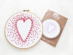 French Knots Heart Embroidery Pattern, Pre Printed Needlework Pattern Fabric, 100% Cotton Hand Embroidery Pattern, Hoop Art Tutorial,