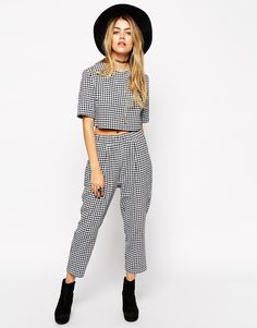 ASOS+Reclaimed+Vintage+CO-ORD+Trousers+in+Textured+Gingham