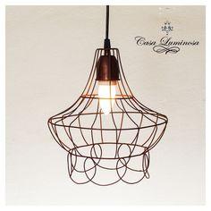 Casa Luminosa Lampara Colgante vintage de alambre & hierro oxido