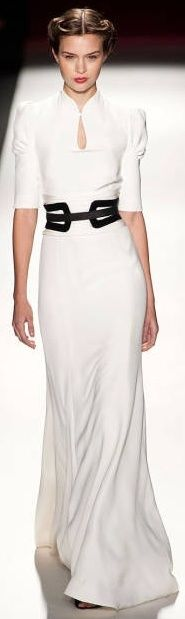MAKE THE TOP INTO A SHIRT; LOVE THE ELEGANT CONTOUR OF DECOLIAGE-Carolina Herrera, 2013 simple and beautiful