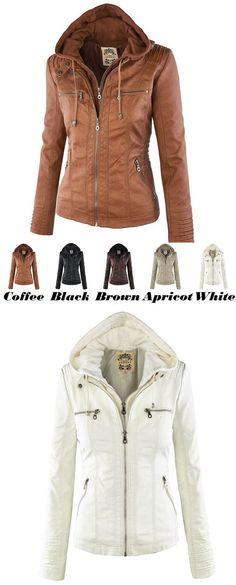 Leather Jacket Fashion Fall Winter Faux Leather Detachable Fake Two-piece Hood Zipper Jackets Coat Leather Clothing for big sale! #coat #jacket #retro #fashion #clothing