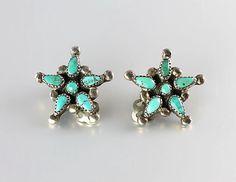 Vintage Native American Navajo sterling silver Turquoise Earrings