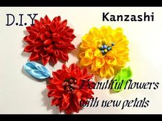 "Новый лепесток "" Булька""/New Petal Kanzashi/D.I.Y - YouTube Fabric Flowers, Paper Flowers, Kanzashi Flowers, Ribbon Work, Hair Bows, Embroidery, Knitting, Crochet, Handmade"