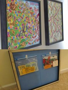 This is GENIUS! Wall art+ organization! What kid doesn't love candy land!? Click here to see more great ideas.