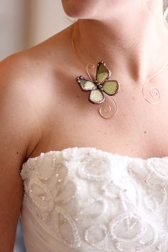 Brass Wire Choker Torc with Real Green Butterfly on Etsy, $146.89