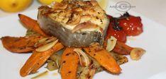 Anghila la cuptor cu garnitura de cartofi dulci Pot Roast, Turkey, Fish, Meat, Ethnic Recipes, Carne Asada, Roast Beef, Turkey Country, Pisces