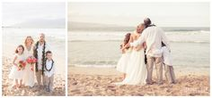 Getting the kids involved in your Vow Renewal! Matching bouquets & leis for the flower girl & ring bearer! Family portraits at a beach Wedding in Hawaii!! Vow Renewals Maui