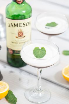 Recipe for a Drunken Leprechaun! Whisky, Guinness Reduction, Lemon Juice, Honey Simple Syrup and Mint! PURE deliciousness and perfect for Saint Patrick's Day! #cocktails
