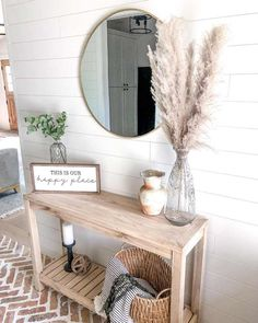 Farmhouse Entryway Table, Entryway Table With Storage, Entryway Tables, Entry Way Decor Ideas, Farmhouse Living Room Decor, Home Decor Ideas, Entrance Table Decor, Simple Living Room Decor, Country Farmhouse Decor