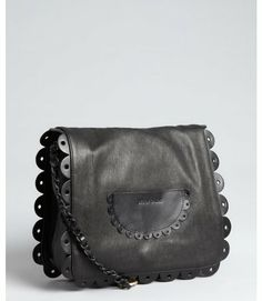 See By Chloé Black Black Leather Poya Ruffle Detail Shoulder Bag