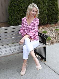Pretty spring outfit, Zara pink gingham ruffle top, tassel earrings, white cropped denim, wedge espadrilles