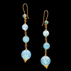 14K and 18K Gold Larimar Dangle Earrings from btwisted on Ruby Lane