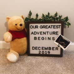 Winnie the Pooh Pregnancy Announcement Disney Pregnancy Announcement, Cute Baby Announcements, Baby Shower Gender Reveal, Baby Shower Themes, Winnie The Pooh Nursery, Baby Mine, Baby Planning, Baby Gifts, New Baby Products