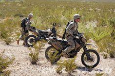 Innovative AWD motorcycle on patrol in Afghanistan.